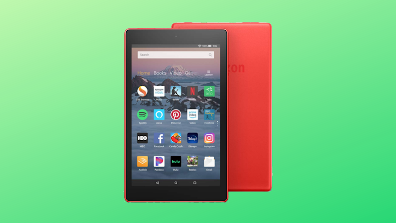 Fire HD 8 on green background. (Photo: Amazon)