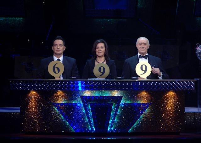 Craig Revel Hallwood, Arlene Phillips and Len Goodman during the final dress rehearsal for the first tour of <em>Strictly Come Dancing Live!</em> at the SECC in Finnieston, Glasgow. (Michael Boyd – PA Images/PA Images via Getty Images)