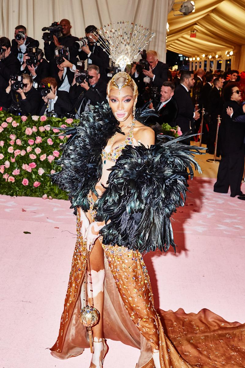 Winnie Harlow on the red carpet at the Met Gala in New York City on Monday, May 6th, 2019. Photograph by Amy Lombard for W Magazine.