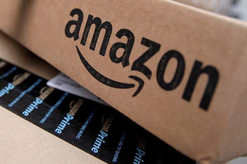 FILE PHOTO: Amazon boxes are seen stacked for delivery in the Manhattan borough of New York City