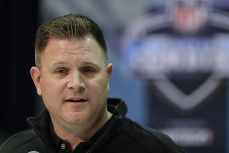 Green Bay Packers general manager Brian Gutekunst met with media on Friday. (AP/Michael Conroy)