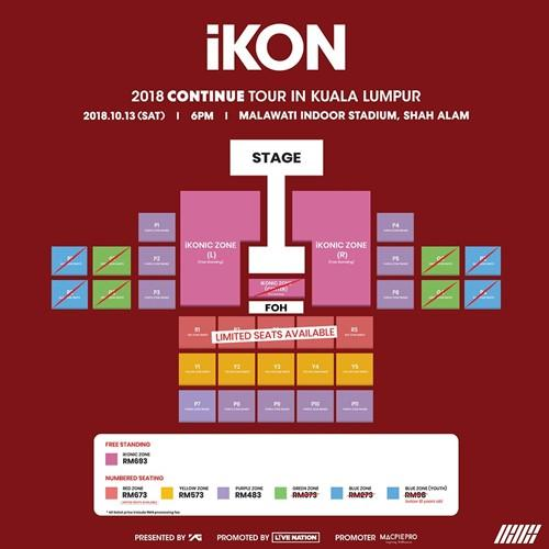 Updated seating plan for iKON's Saturday concert showing the sold out zones.