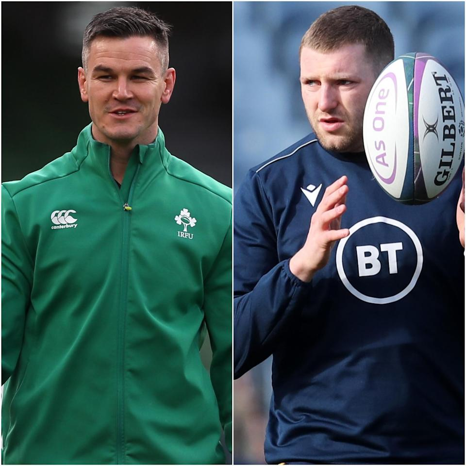 Rival fly-halves Johnny Sexton, left, and Finn Russell are preparing to do battle
