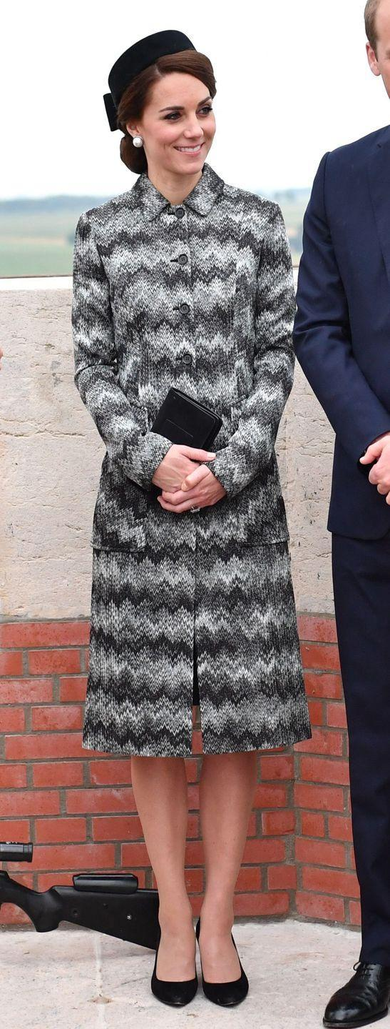 <p>The Duchess of Cambridge wears a grey and black Missoni coat for the Battle of the Somme Vigil in France.</p>