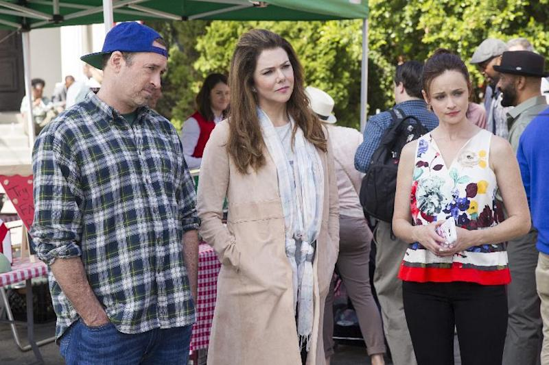 "This image released by Netflix shows, from left, Scott Patterson, Lauren Graham and Alexis Bledel in a scene from, ""Gilmore Girls: A Year In The Life,"" premiering Friday on Netflix. (Saeed Adyani/Netflix via AP)"