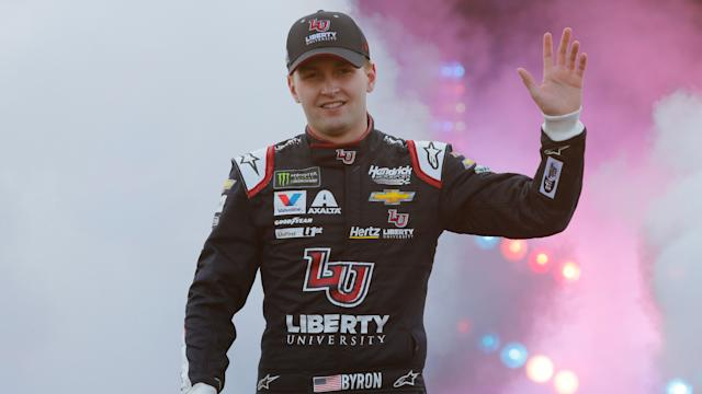 "<a class=""link rapid-noclick-resp"" href=""/nascar/sprint/drivers/3791/"" data-ylk=""slk:William Byron"">William Byron</a> has two pole positions in 2019. (AP Photo/Steve Helber)"