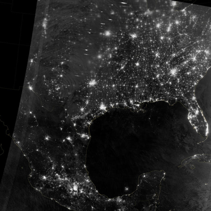 """In April 2012, waves in Earth's """"airglow"""" spread across the nighttime skies of northern Texas like ripples in a pond. In this case, the waves were provoked by a massive thunderstorm. (NASA)"""