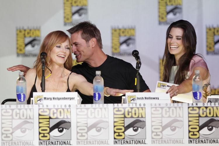 """Marg Helgenberger, Josh Holloway, and Meghan Ory onstage at the """"Intelligence"""" panel during Comic-Con International 2013 at San Diego Convention Center on July 18, 2013 in San Diego, California."""
