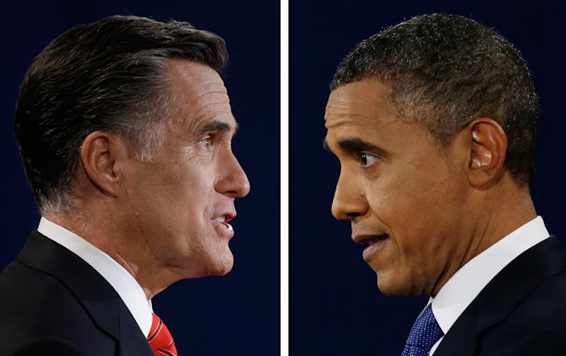 """FILE - In this Oct. 3, 2012, file photo combo, Republican presidential nominee Mitt Romney and President Barack Obama speak during their first presidential debate at the University of Denver, Colo. In a September Pew Research Center poll 48 percent of registered voters said Obama was more """"honest and truthful,"""" to 34 percent who felt Romney was. And a CBS News/New York Times survey earlier in September asked separately whether each candidate was honest and trustworthy: 58 percent of likely voters described Obama that way while 53 percent said that of Romney. (AP Photo/David Goldman/Eric Gay)"""