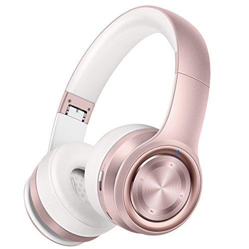 Picun P26 Bluetooth Headphones Over Ear 40H Playtime Hi-Fi Stereo Wireless Headphones Girl Deep Bass Foldable Wired/Wireless/TF for Phone/TV Bluetooth 5.0 Wireless Earphones with Mic Women (Rose Gold) (Amazon / Amazon)