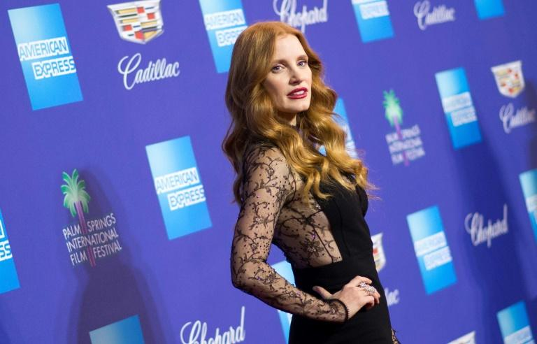 Actress Jessica Chastain -- shown here at the Palm Springs film festival gala earlier this week -- is one of several stars who will wear black to the Golden Globes in protest at sexual harassment