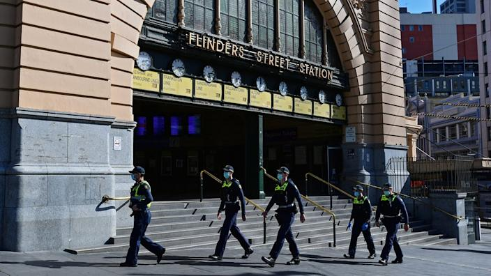 Police patrol Melbourne's streets during lockdown