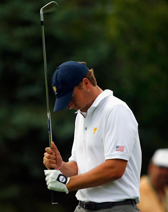 DUBLIN, OH - OCTOBER 06: Jordan Spieth of the U.S. Team walks off the tee on the 16th hole during the Day Four Singles Matches at the Muirfield Village Golf Club on October 6, 2013 in Dublin, Ohio. (Photo by Matt Sullivan/Getty Images)