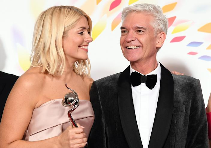 Holly Willoughby and Phillip Schofield pose with the award for Live Magazine Show for 'This Morning' in the winners room attends the National Television Awards 2020 at The O2 Arena on January 28, 2020 in London, England. (Photo by Gareth Cattermole/Getty Images)