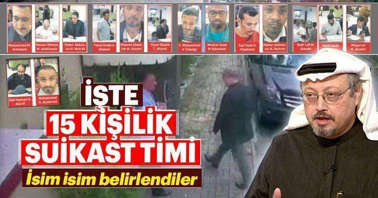 A graphic from the Turkish daily newspaper Sabah purports to identify the 15-member Saudi team allegedly involved in the disappearance of journalist Jamal Khashoggi