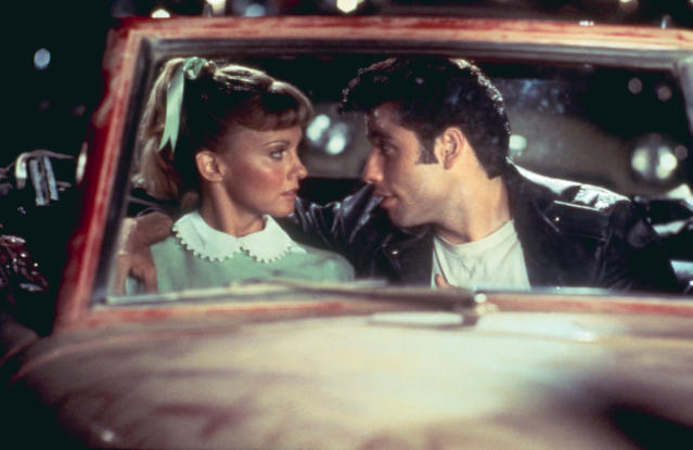Olivia Newton-John as Sandy and John Travolta as Danny in the drive-in scene from <em>Grease.</em> (Photo: Courtesy of Paramount c/o the Everett Collection)