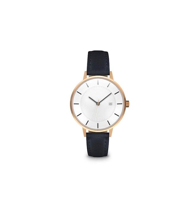 "<p>The Classic Rose Gold/Navy Watch, $249, <a href=""https://www.linjer.co/collections/women-classic-watches/products/womens-the-classic-rose-gold-navy?variant=31090467213#details"" rel=""nofollow noopener"" target=""_blank"" data-ylk=""slk:linjer.co"" class=""link rapid-noclick-resp"">linjer.co</a> </p>"