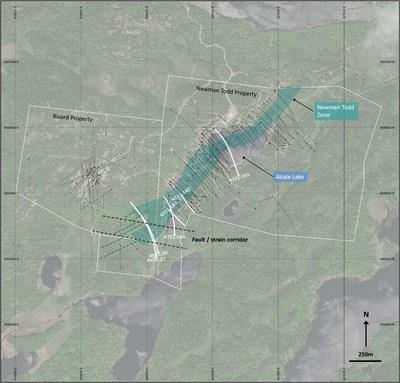 Figure 1:  Plan view of the Newman Todd / Rivard properties, the NT Zone and the 6 drillholes reported in this news release. (CNW Group/Trillium Gold Mines Inc.)