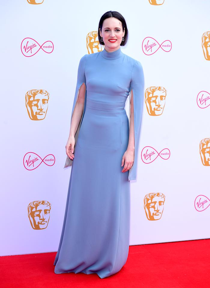 The 'Fleabag' creator wore an A Teodoro caped gown at the Virgin Media British Academy Television Awards at The Royal Festival Hall on May 12, 2019 in London, England. <em>[Photo: PA]</em>