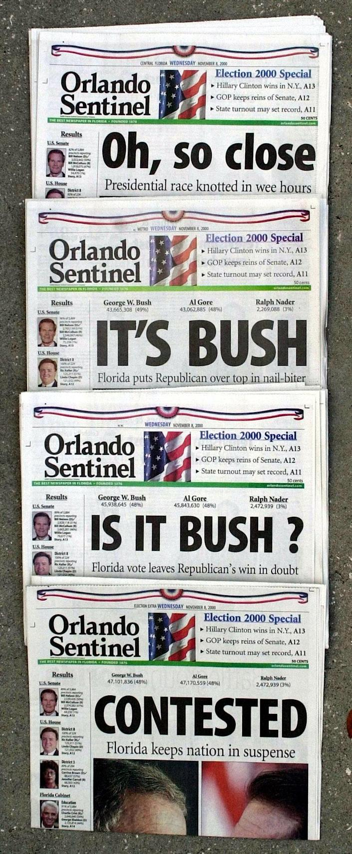 """FILE - This Nov. 8, 2000 file photo shows Orlando Sentinel election night headlines The first headline was, """"Oh, so close,"""" followed by """"IT'S BUSH,"""" then """"IS IT BUSH?"""" and lastly """"CONTESTED."""" The presidential election is still undecided while the nation waits for Florida's final vote count. The mere mention of the 2000 election unsettles people in Palm Beach County. The county's poorly designed """"butterfly ballot"""" confused thousands of voters, arguably costing Democrat Al Gore the state, and thereby the presidency. Gore won the national popular vote by more than a half-million ballots. But George W. Bush became president after the Supreme Court decided, 5-4, to halt further Florida recounts, more than a month after Election Day. Bush carried the state by 537 votes, enough for an Electoral College edge, and the White House. (AP Photo/Peter Cosgrove, File)"""