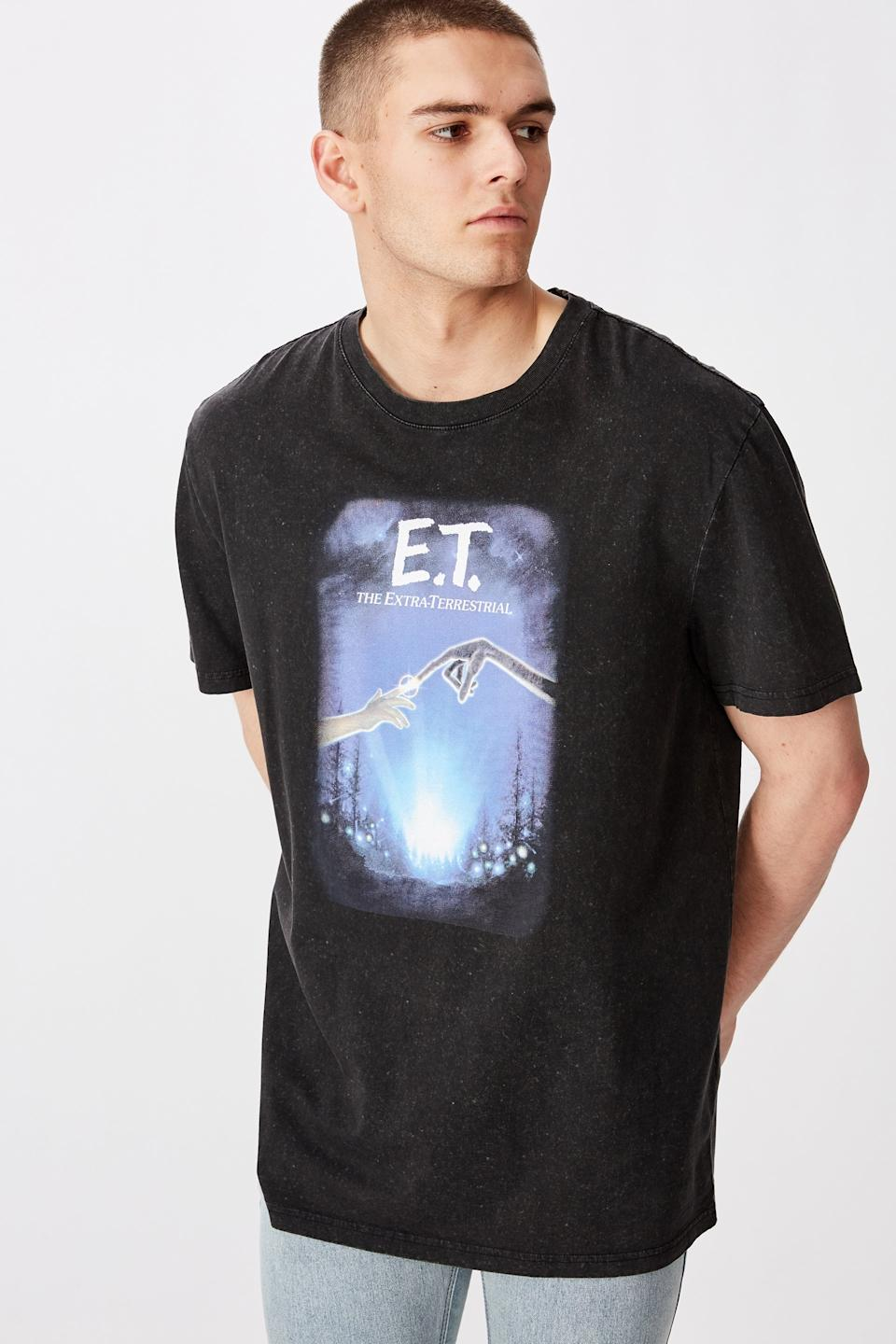 The Factorie Regular License T Shirt in E.T. print, $17.46 (RRP $24.95) from Cotton On. Photo: Cotton On.