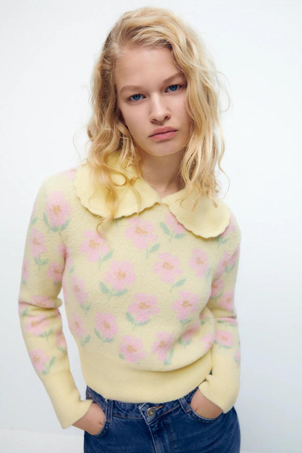 <p>How cute is this <span>Zara Printed Bib Collar Sweater</span> ($46)? From the collar to the print, we can't get over it.</p>
