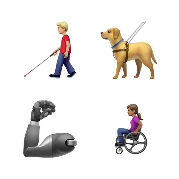 This image provided by Apple shows new emoji's released by Apple.  Both Apple and Google are rolling out dozens of new emojis that, as usual, included cute crittters, but also ones that expand the boundaries of inclusion. The announcement coincides with Wednesday, July 17, 2019 World Emoji Day.(Apple via AP)