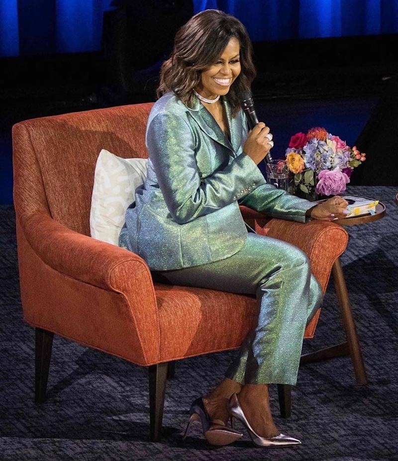 Michelle Obama wearing custom Christopher John Rogers at the final stop of the Becoming book tour in Nashville, Tennessee, May 2019.