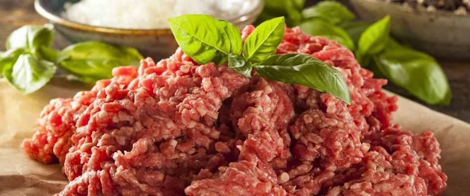 Organic Raw Grass Fed Ground Beef on Butcher Paper