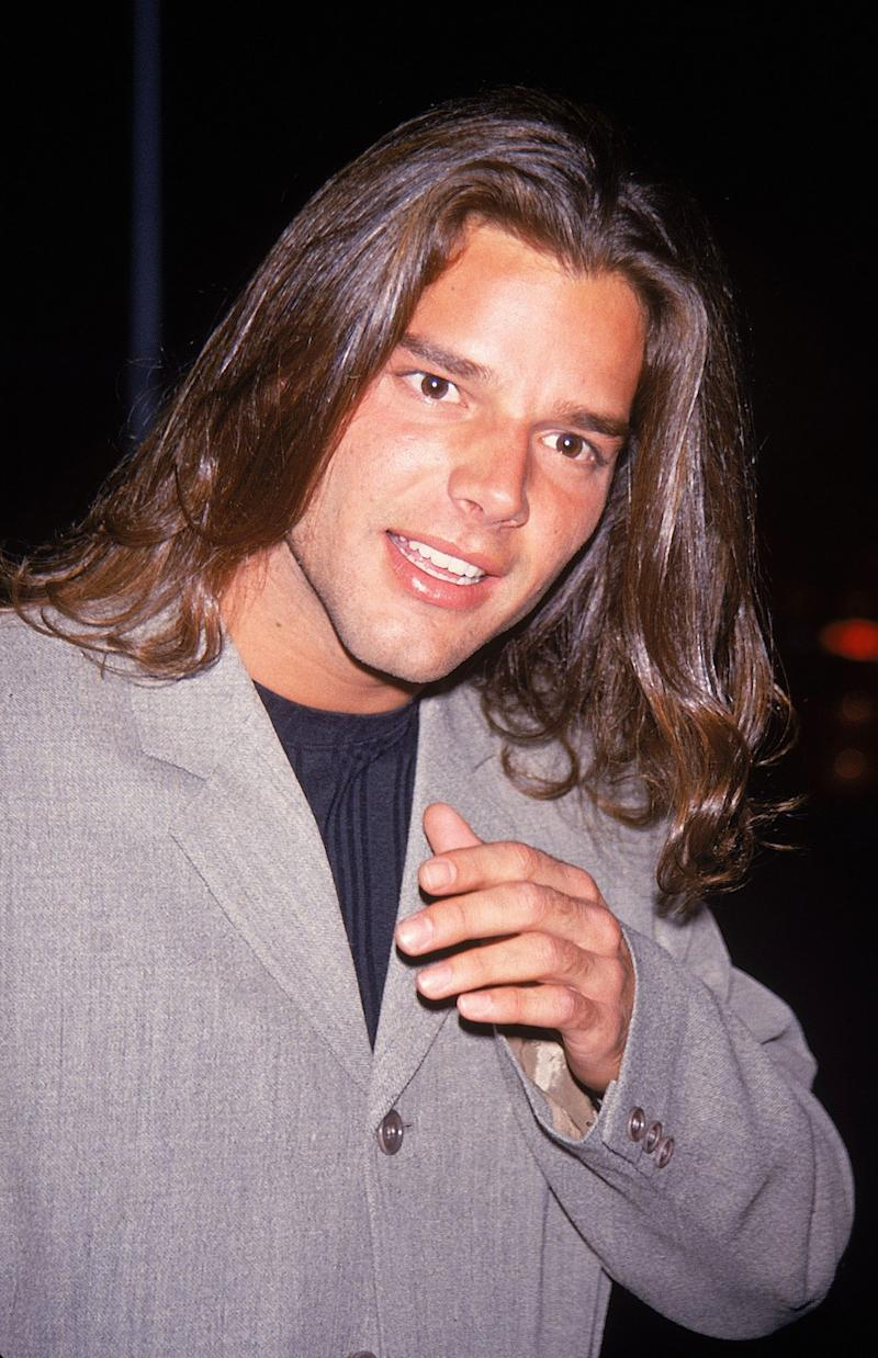 Ricky Martin with long hair in 1994.