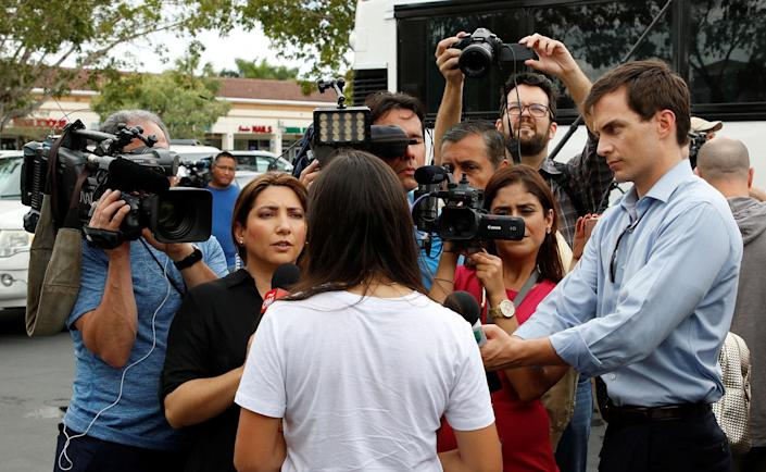 <p>A Marjory Stoneman Douglas High School student speaks to the media before boarding a bus with other students to travel to Tallahassee, Florida, to meet with legislators, in Coral Springs, Fla., Feb. 20, 2018. (Photo: Joe Skipper/Reuters) </p>
