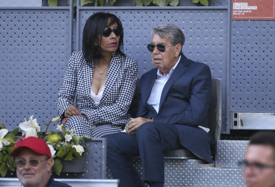 MADRID, SPAIN - MAY 7: Manolo Santana and his wife Claudia Rodriguez attend day 4 of the Mutua Madrid Open at La Caja Magica on May 7, 2019 in Madrid, Spain. (Photo by Jean Catuffe/Getty Images)