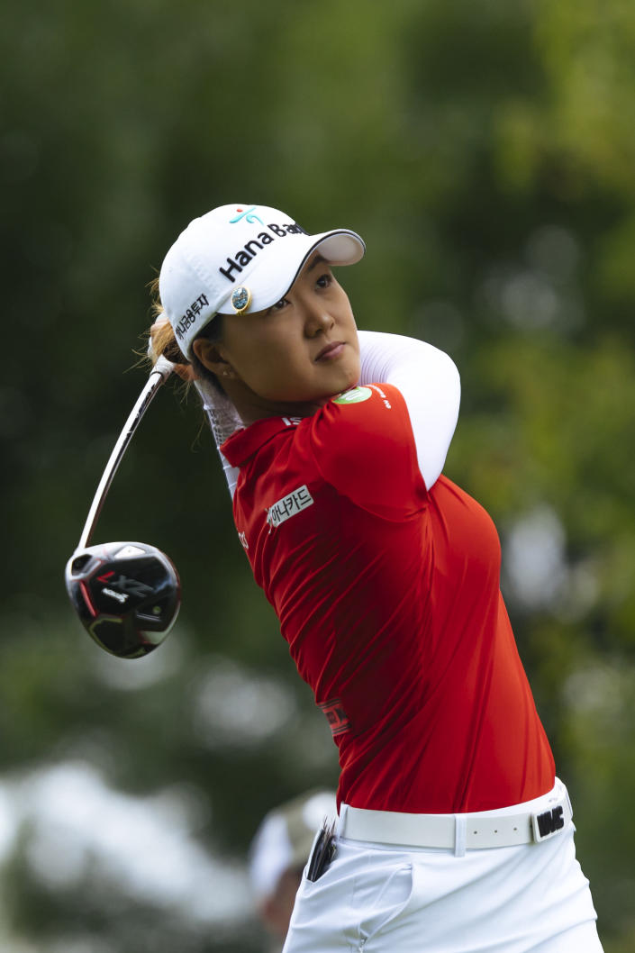 Minjee Lee, of Australia hits a shot during the last round of the Evian Championship women's golf tournament in Evian, eastern France, Sunday, July 25, 2021. (AP Photo)