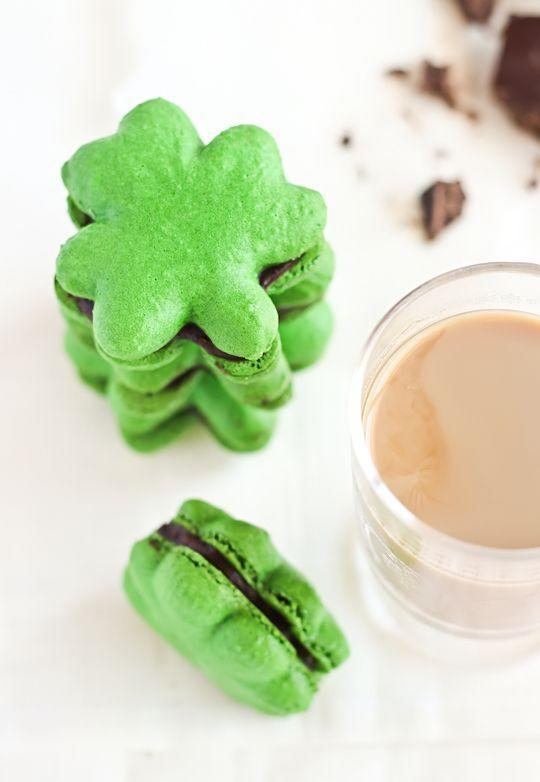 """<p>Look how cute these macarons are! They're sandwiched with chocolate ganache for a decadent bite.</p><p><strong>Get the recipe at <a href=""""http://www.raspberricupcakes.com/2012/03/shamrock-macarons-with-baileys.html"""" rel=""""nofollow noopener"""" target=""""_blank"""" data-ylk=""""slk:Raspberri Cupcakes"""" class=""""link rapid-noclick-resp"""">Raspberri Cupcakes</a>.</strong></p><p><strong><a class=""""link rapid-noclick-resp"""" href=""""https://go.redirectingat.com?id=74968X1596630&url=https%3A%2F%2Fwww.walmart.com%2Fsearch%2F%3Fquery%3Dpiping%2Bbags&sref=https%3A%2F%2Fwww.thepioneerwoman.com%2Ffood-cooking%2Fmeals-menus%2Fg35269814%2Fst-patricks-day-desserts%2F"""" rel=""""nofollow noopener"""" target=""""_blank"""" data-ylk=""""slk:SHOP PIPING BAGS"""">SHOP PIPING BAGS</a></strong></p>"""