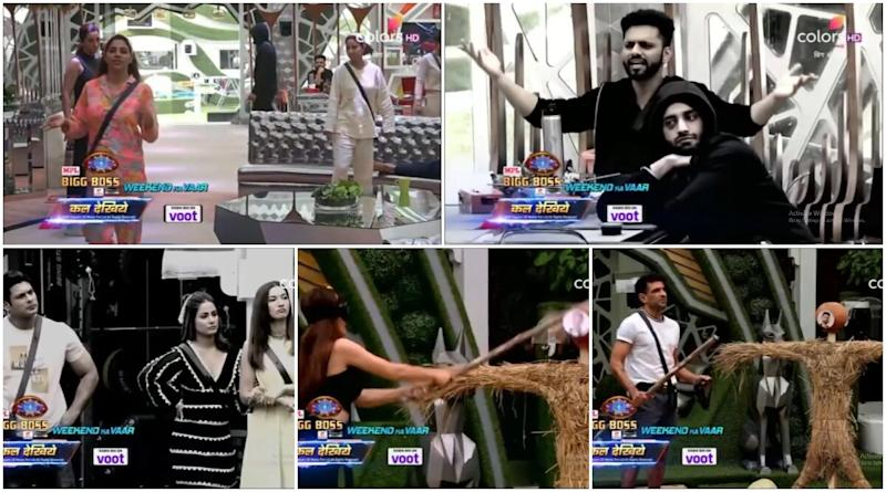 Bigg Boss 14 Preview: Seniors Gauahar Khan, Sidharth Shukla and Hina Khan Are Asked To Eliminate BB14's First Contestant (Watch Video)