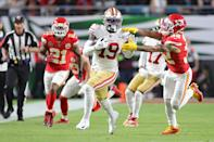 MIAMI, FLORIDA - FEBRUARY 02: Deebo Samuel #19 of the San Francisco 49ers runs with the ball against the Kansas City Chiefs in Super Bowl LIV at Hard Rock Stadium on February 02, 2020 in Miami, Florida. (Photo by Maddie Meyer/Getty Images)