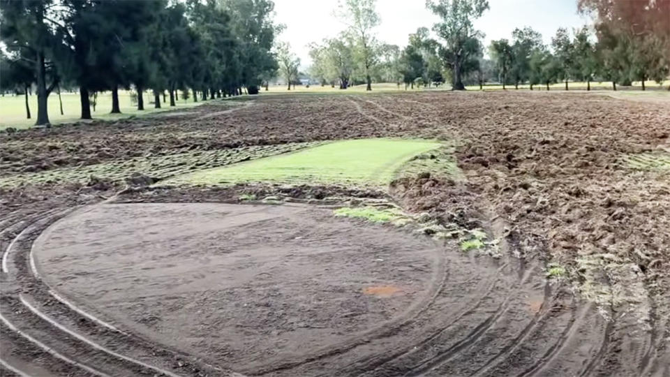 Dunedoo golf course, pictured here after it was destroyed by a vandal on a tractor.