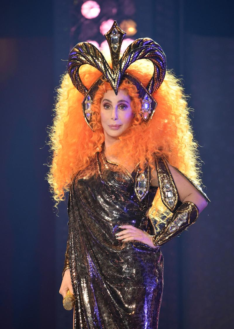 "ESTERO, FL - JANUARY 17: Cher performs on stage during the opening night of her ""Here We Go Again"" tour, her first US tour in five years at The Hertz Arena on January 17, 2019 in Estero, Florida. The one and only Cher received a roaring response at the opening night of her 35 city North American ""Here We Go Again"" tour. The multi-award winning star performed lots of her hits along with several songs from her current ""Dancing Queen"" Abba tribute album. (Photo by Kevin Mazur/Getty Images for Live Nation)"