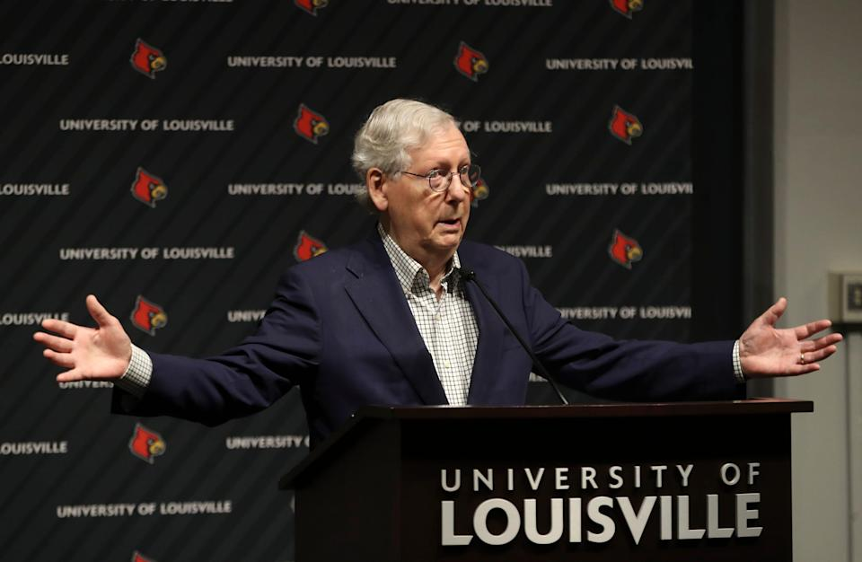 Sen. Mitch McConnell, R-Ky., speaks at a press conference after touring the Regional Biocontainment Lab - Center for Predictive Medicine at the University of Louisville on Monday, May 3, 2021.