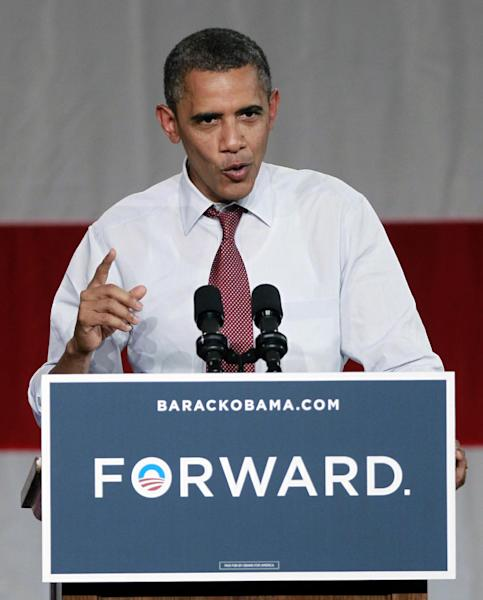 President Barack Obama speaks at a campaign event at Rollins College, Thursday, Aug. 2, 2012, in Winter Park, Fla. (AP Photo/John Raoux)