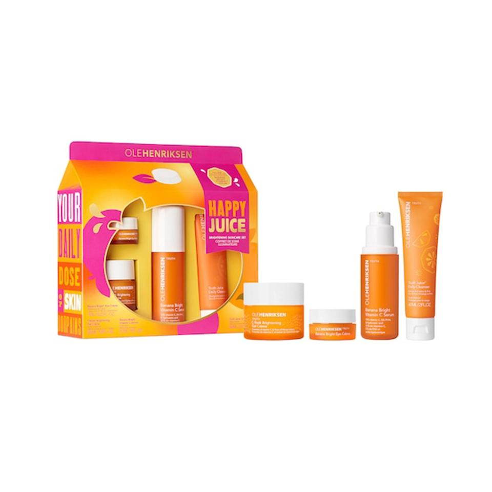 """<p>For those who can't get enough of <a href=""""https://www.allure.com/gallery/get-brighter-skin-vitamin-c?mbid=synd_yahoo_rss"""" rel=""""nofollow noopener"""" target=""""_blank"""" data-ylk=""""slk:vitamin C"""" class=""""link rapid-noclick-resp"""">vitamin C</a> in their skin-care products, the Ole Henriksen Happy Juice Brightening Skincare Set puts it front and center with four orange-y formulas in travel-friendly sizes. The Truth Juice Daily Cleanser is the first step to achieving luminous skin with this kit by sloughing away dead skin while washing away makeup and grime. </p> <p>Next up is the Banana Bright Vitamin C Serum, which pairs the brightening ingredient with hyaluronic acid and <a href=""""https://www.allure.com/story/what-are-phas-polyhydroxy-acids?mbid=synd_yahoo_rss"""" rel=""""nofollow noopener"""" target=""""_blank"""" data-ylk=""""slk:polyhydroxy acids"""" class=""""link rapid-noclick-resp"""">polyhydroxy acids</a> (aka PHAs) for plumping and smoothing. Then, the C-Rush Vitamin C Gel Moisturizer combines three different forms of vitamin C, so your skin has no choice but to get glowing. A small jar of <a href=""""https://www.allure.com/gallery/best-of-beauty-skin-care-product-winners?mbid=synd_yahoo_rss"""" rel=""""nofollow noopener"""" target=""""_blank"""" data-ylk=""""slk:Best of Beauty Award"""" class=""""link rapid-noclick-resp"""">Best of Beauty Award</a>-winning Banana Bright Eye Crème is also included to make sure even your eyes are accounted for. </p> <p><strong>$69 (</strong><a href=""""https://click.linksynergy.com/deeplink?id=MZ9491VLjxM&mid=38834&murl=https%3A%2F%2Fwww.olehenriksen.com%2Fshop-by-type%2Fvalue-sets%2Fhappy-juice-brightening-skincare-set%2F47533.html&u1=BestSkinCareGiftSets"""" rel=""""nofollow noopener"""" target=""""_blank"""" data-ylk=""""slk:Shop Now"""" class=""""link rapid-noclick-resp""""><strong>Shop Now</strong></a><strong>)</strong> </p>"""