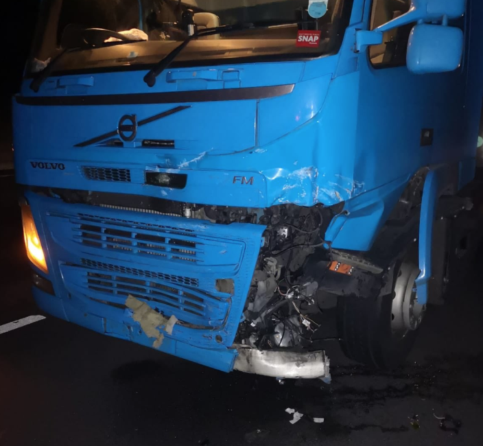 The Lorry's front end was severely damaged by the impact. (Derbyshire Roads Policing Unit)