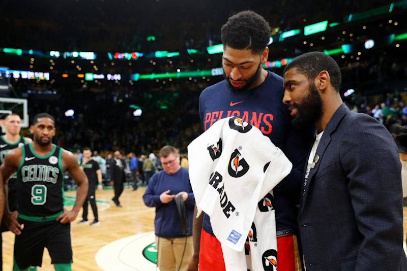 0d70f375c Pelicans star Anthony Davis and Celtics star Kyrie Irving share a moment on  the court after Monday s game. (Getty Images)