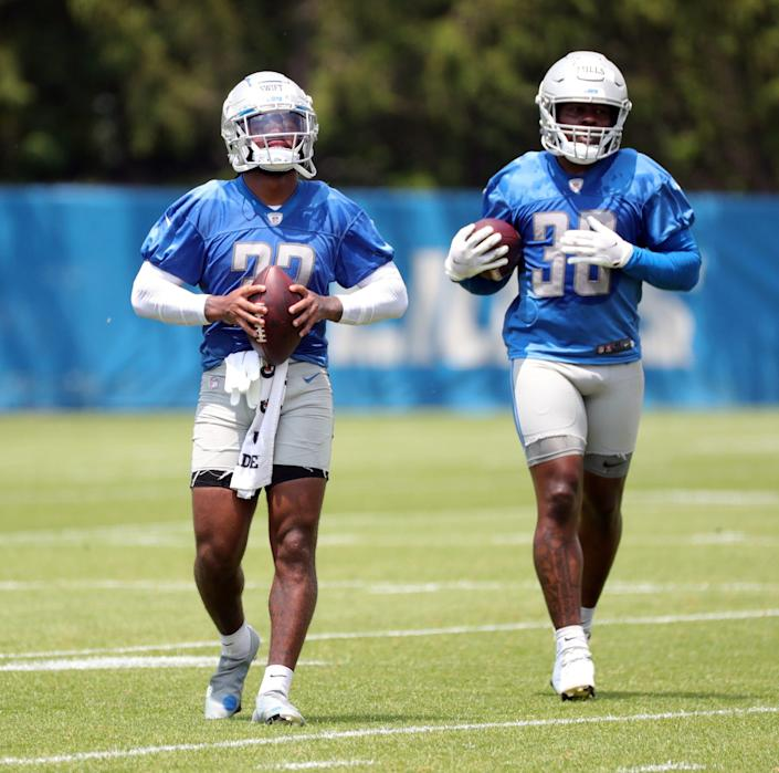 Detroit Lions running backs D'Andre Swift and Jamaal Williams on the field during minicamp practice Wednesday, June 9, 2021, at  then Allen Park practice facility in Detroit.