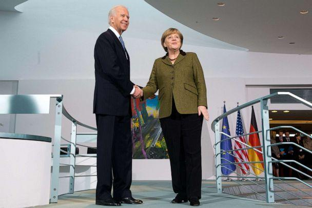 PHOTO: In this Feb. 1, 2013, file photo, German Chancellor Angela Merkel receives US Vice President Joe Biden at the Federal Chancellery in Berlin. (Maurizio Gambarini/picture alliance via Getty Images, FILE)