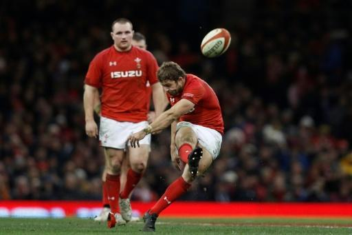Wales' full-back Leigh Halfpenny kicks a penalty during their Autumn int'l rugby union Test match against New Zealand, at the Principality stadium in Cardiff, on November 25, 2017