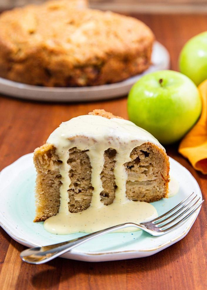 "<p>The sauce on this is <em>perfect</em>.</p><p>Get the recipe from <a href=""https://www.delish.com/cooking/recipe-ideas/a30781773/irish-apple-cake/"" rel=""nofollow noopener"" target=""_blank"" data-ylk=""slk:Delish."" class=""link rapid-noclick-resp"">Delish. </a></p>"