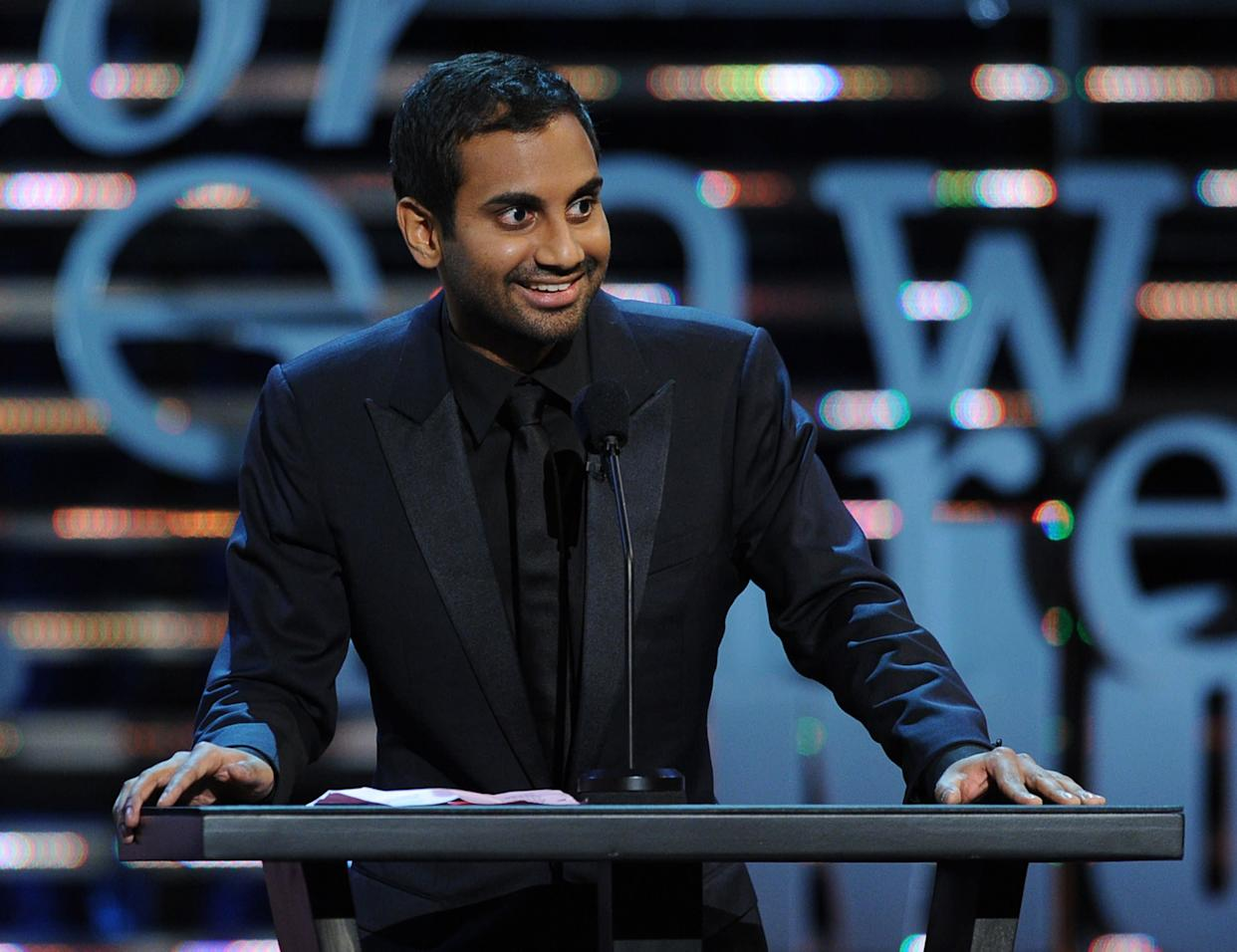 CULVER CITY, CA - AUGUST 25: Actor Aziz Ansari speaks onstage during The Comedy Central Roast of James Franco at Culver Studios on August 25, 2013 in Culver City, California. The Comedy Central Roast Of James Franco will air on September 2 at 10:00 p.m. ET/PT. (Photo by Kevin Winter/Getty Images for Comedy Central)