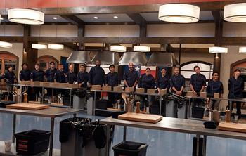 "A very sweet 16: The contenders line up on ""Top Chef: Texas"" (Virginia Sherwood/Bravo)"