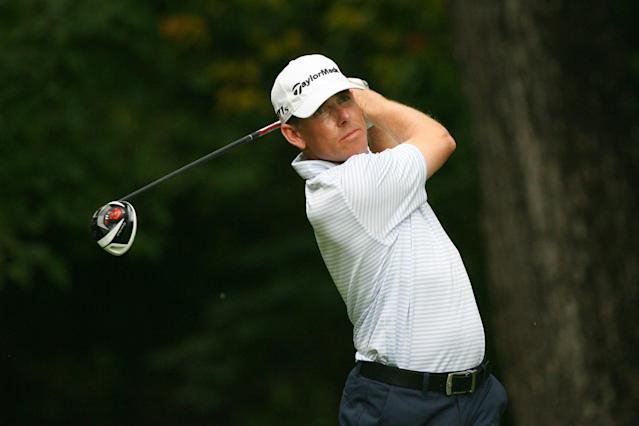 GREENSBORO, NC - AUGUST 19: Justin Leonard hits his tee shot on the second hole during the final round of the Wyndham Championship at Sedgefield Country Club on August 19, 2012 in Greensboro, North Carolina. (Photo by Hunter Martin/Getty Images)